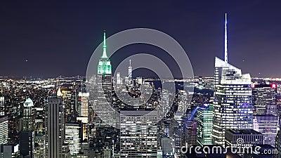 Van de stads beroemde gebouwen van New York van de de nacht lichte mening de tijdtijdspanne 4k stock videobeelden