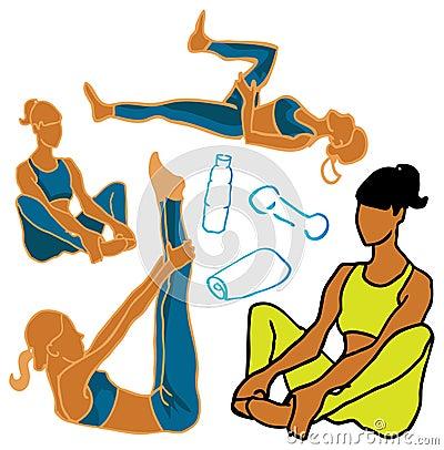 Van de vrouwenpictogrammen van de sport & van de Fitness het de gezondheidsleven