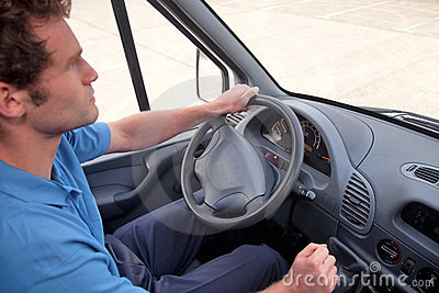 Van driver left hand drive vehicle.