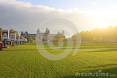 Van Gogh Museum and Rijksmuseum on Museumplein Editorial Stock Photo