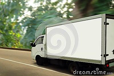 Van, green forest. Ecological transport concept.