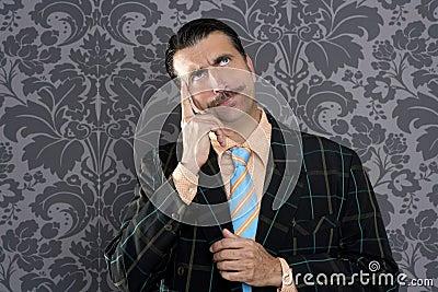 Van het de zakenman peinzende gebaar van Nerd dwaze grappige retro