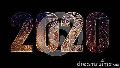 2020 van kleurrijk vuurwerk met alfa stock videobeelden