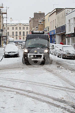 Van struggles to navigate Bristol streets in the snow Editorial Photography