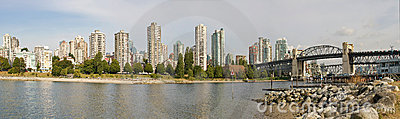 Vancouver BC Skyline and Burrard Bridge Panorama