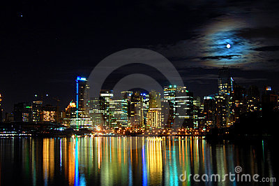 Vancouver City skyline night shot