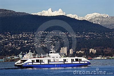 Vancouver Harbor Ferry Two Lions Mountains BC