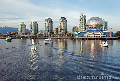 Vancouver Science World skyline from the water