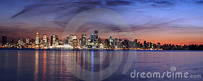 Vancouver sky line at night panorama