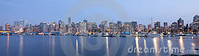 Vancouver skyline panoramic at night