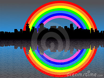 Vancouver skyline with rainbow