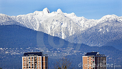 Vancouver Skyline Snowy Two Lions Mountains BC