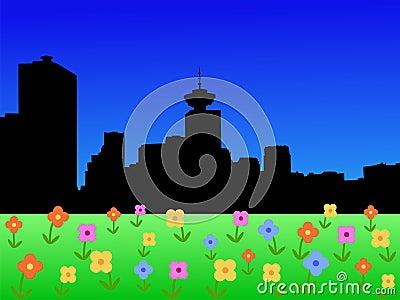 Vancouver skyline in spring