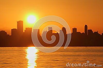 Vancouver Skyline Sunrise, English Bay