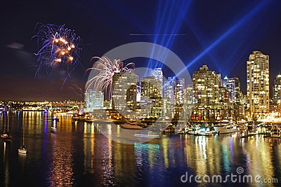Vancouver Yaletown Skyline with fireworks