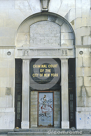 Vandalized criminal courts building, Editorial Photo