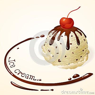 Vanilla Chocolate chip Ice cream with chocolate sauce