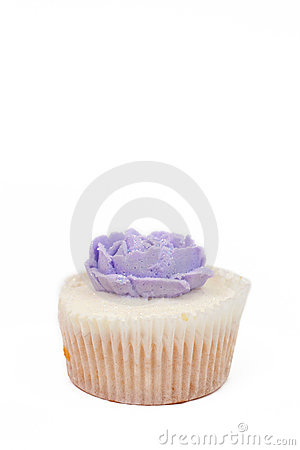Vanilla cupcake with rose topping