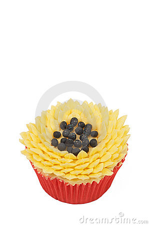 Vanilla cupcake with sunflower decoration