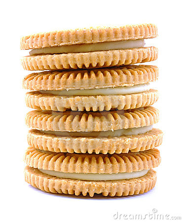 Vanilla flavor filled cookie stack