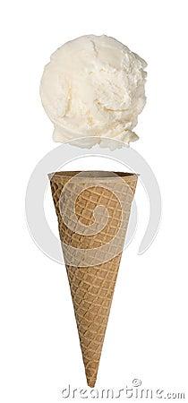 Vanilla Ice Cream Cone on White