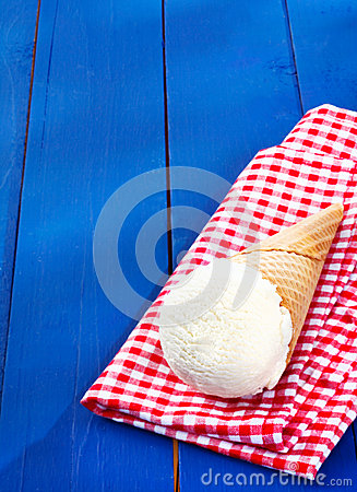 Vanilla icecream served in a cone