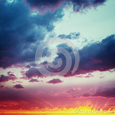 Free Vanilla Skies. Fantastic Dramatic Sunset Sky. Royalty Free Stock Photo - 54200055