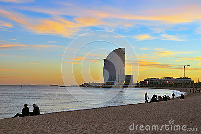 Vanilla sky of Barceloneta Editorial Photography