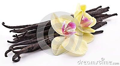 Vanilla sticks with a flower.