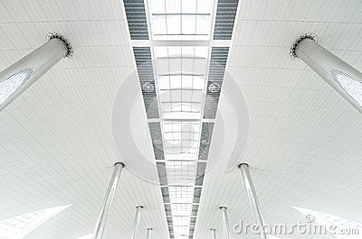 Metal Columns And Modern Glass Ceiling At Airport Royalty