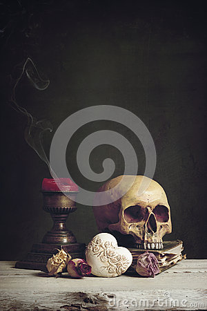 Free Vanitas With Skull, Book, Candle And Heart Royalty Free Stock Images - 48935749