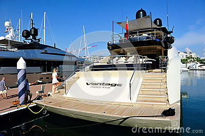 Vantage luxury yacht at Singapore Yacht Show 2012 Editorial Image