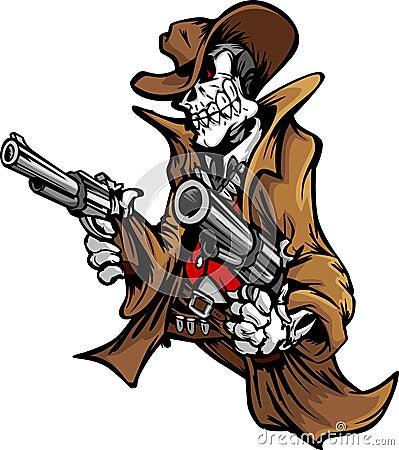 Vaquero esquelético con el cráneo y el sombrero que apuntan los armas