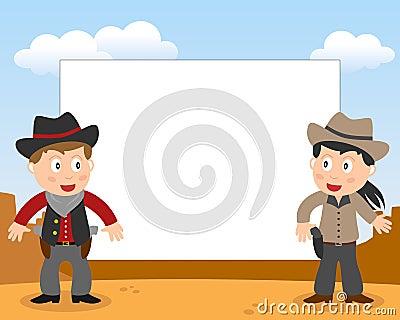 Vaqueros del oeste salvajes Photoframe