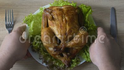 Varón que va a comer la porción grande en el restaurante, problema del pollo frito el comer excesivamente metrajes