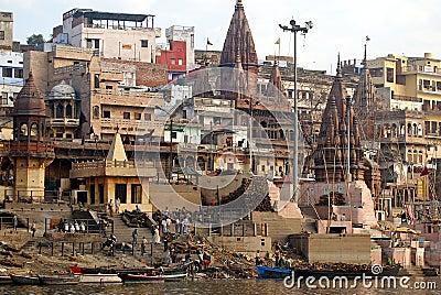 Varanasi cremation ghat Editorial Image