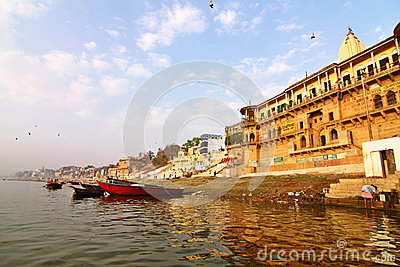 Varanasi ghats morning view India