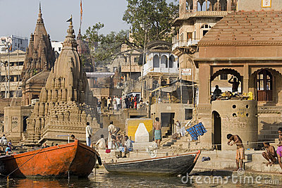 Varanasi Hindu Ghats - India Editorial Image