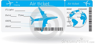 Variant of air ticket isolated on white. Vector illustration.