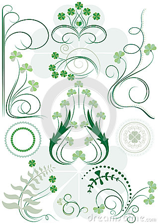 Variants brush patterns of leaves clovers