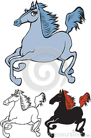 Variants of a galloping horse cartoon images