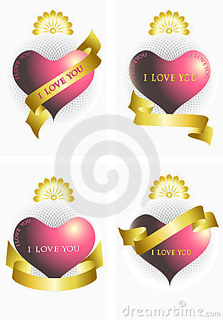 Variants of the heart and ribbons.Ilove you.Banner