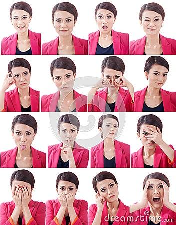 Varias expresiones del rostro humano