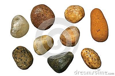 Varicolored gravel stones