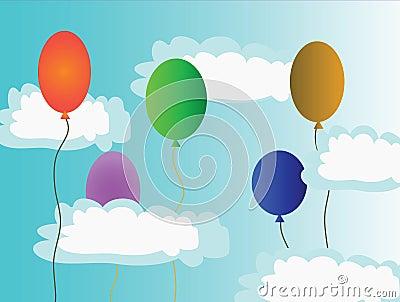 Varicoloured air balls in sky