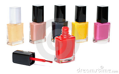 Varicoloured varnish for nail, open red vial