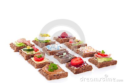 Varied slices sandwiches