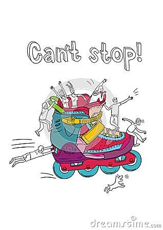 Variegated roller skates