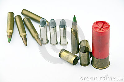 Variety of ammunition with white background