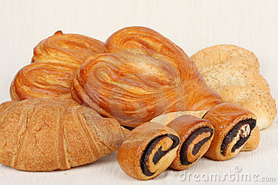 Variety of appetizing buns and bread